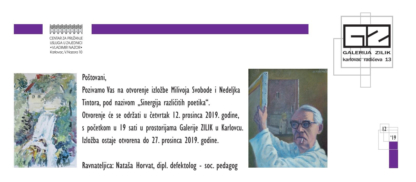 """Najava izložbe: """"Sinergija različitih poetika"""" - Milivoj Svoboda i Nedeljko Tintor"""