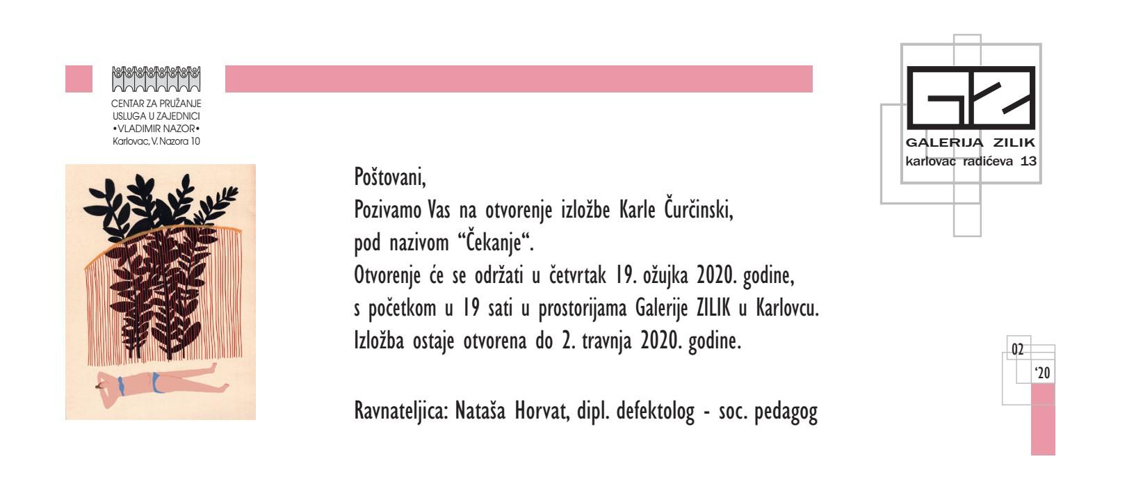 """Najava izložbe: """"Čekanje"""" – Karla Čurčinski"""