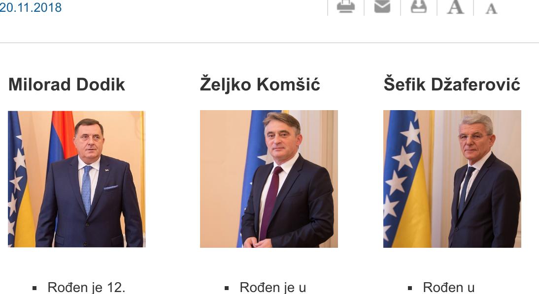 Predsjedništvo BiH: Biografije, portreti i aktivnosti