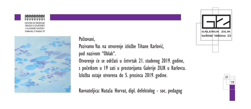 """Najava izložbe: """"Oblak"""" - Tihana Karlović"""